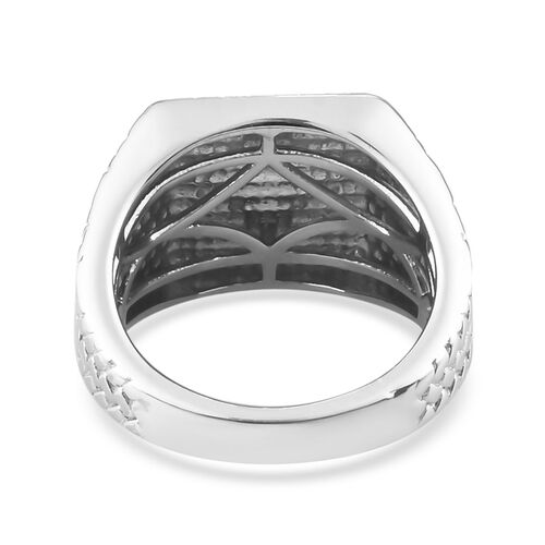 Platinum Overlay Sterling Silver Signet Ring, Silver wt. 5.35 Gms