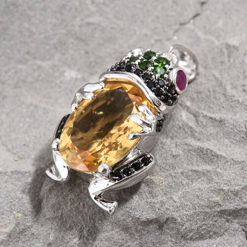 GP Citrine (Ovl 14x10 mm), Multi Gemstone Frog Pendant in Platinum Overlay Sterling Silver 6.00 Ct, Silver wt 6.16 Gms.