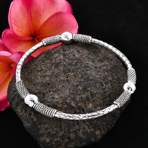 Sterling Silver Ball Bangle (Size 8), Silver wt 20.81 Gms