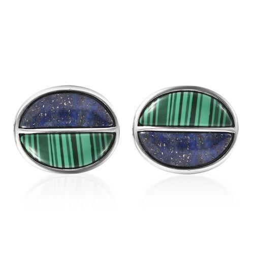 Simulated Malachite and Lapis Lazuli Cufflinks in Stainless Steel 14.24 Ct.