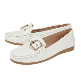 Lotus Cory Slip-On Loafers in White Colour