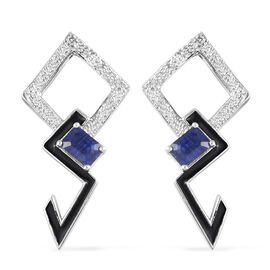 Masoala Sapphire Enamelled Earrings in Platinum Overlay Sterling Silver 1.76 Ct, Silver wt 5.45 Gms