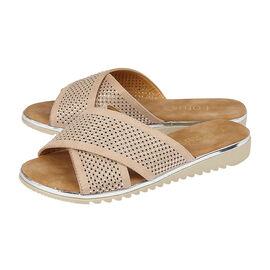 Lotus Tansy Diamante Flat Mule Sandals - Nude