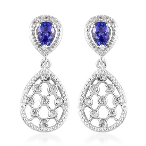 Tanzanite and Natural Cambodian Zircon Dangle Earrings (with Push Back) in Platinum Overlay Sterling