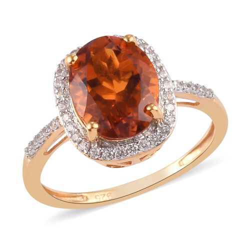 Close Out Deal- Citrine (Ovl 10x8mm) and Natural Cambodian Zircon Ring in 14K Gold Over Sterling Sil