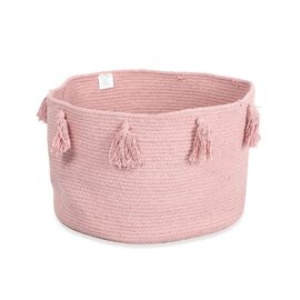 100% Cotton Braided Multipurpose Blush Basket With Tassels (45x45x30cm)