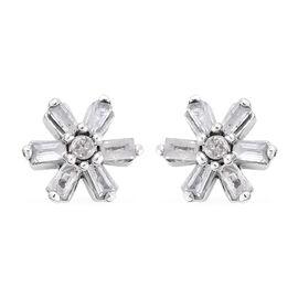 Diamond Platinum Overlay Sterling Silver Earring  0.200  Ct.
