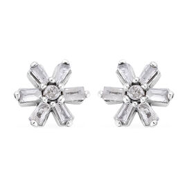 0.2 Ct Diamond Floral Stud Earrings in Platinum Plated Sterling Silver