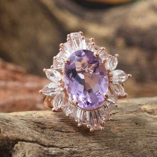 Rose De France Amethyst (Ovl 5.30 Ct), White Topaz Ring in Rose Gold Overlay Sterling Silver 8.250 Ct.