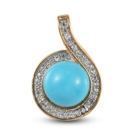 Arizona Sleeping Beauty Turquoise and Natural Cambodian Zircon Pendant in 14K Gold Overlay Sterling