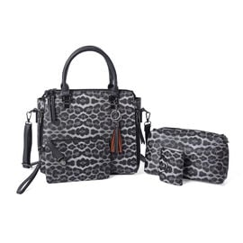 4 Piece Set - Grey Leopard Pattern Tote Bag, Crossbody Bag, Clutch Bag and Card Bag with Tassel Hang