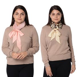Set of 2 - Solid Colour and Leopard Pattern Faux Fur Collar Scarf with Ribbon Strap (Size 7.62x48.3+