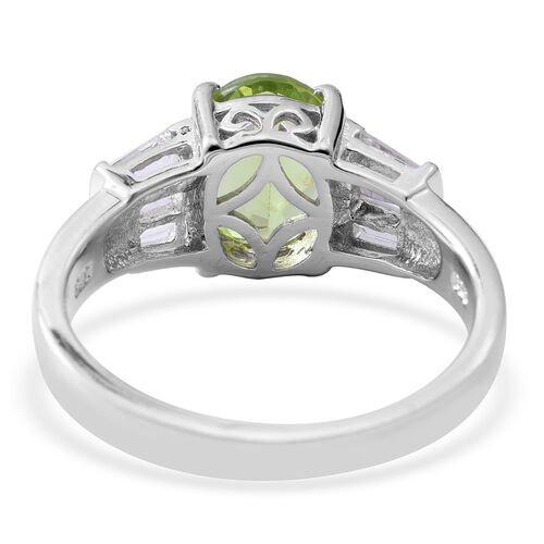 Hebei Peridot (Ovl 2.81 Ct), White Topaz Ring in Rhodium Overlay Sterling Silver 3.470 Ct.