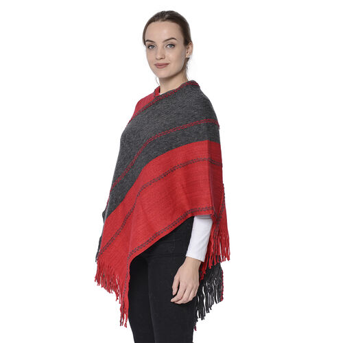 Stripe Pattern Poncho in Red and Dark Grey (54x70cm)
