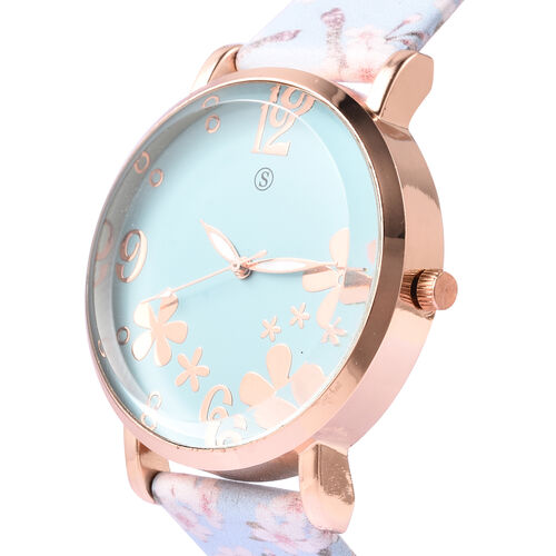 STRADA Japanese Movement Water Resistant Floral Motif Adorned Watch - Blue
