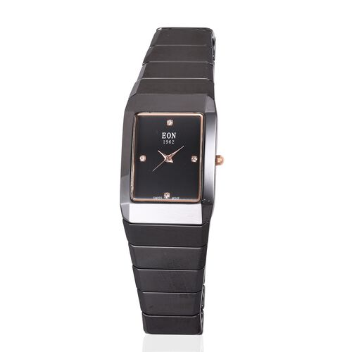 EON 1962 Swiss Movement 3ATM Water Resistant Watch with Studded Simulated Diamond and Black Ceramic