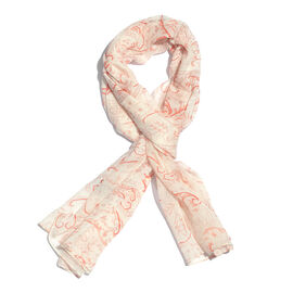 Orange and Off White Colour Scarf (Size 170x65 Cm)