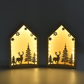 Set of 2 - Wooden Decorative Reindeer and Tree Pattern Frame LED Light (Size 20x13x2.8 Cm) - Burlywo