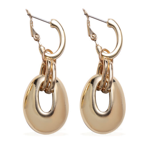 Champagne Colour Austrain Crystal Drop Earrings (with French Clip) in Yellow Gold Tone
