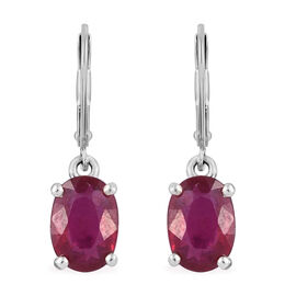 2 Carat African Ruby Solitaire Drop Earrings in Sterling Silver With Lever Back