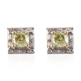 9K Yellow Gold Natural Yellow Diamond (Cush), Diamond Stud Earrings (with Push Back) 0.75 Ct.