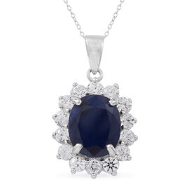 Rare Size Madagascar Blue Sapphire (Ovl 12x10 mm), Natural White Cambodian Zircon Pendant with Chain