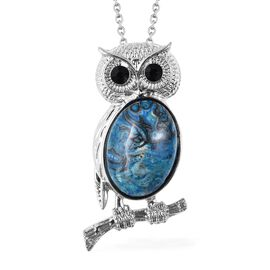 Blue Quartzite and Black Austrian Crystal Owl Pendant with Chain in Stainless Steel