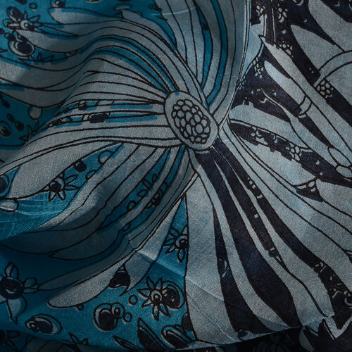 100% Mulberry Silk Turquoise, Black and Multi Colour Handscreen Floral Printed Scarf (Size 200X88 Cm)