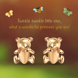 Kids Teddy Bear Earrings in Gold Plated Silver