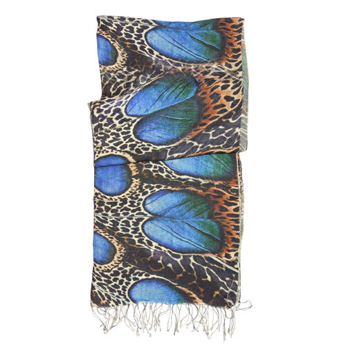 100% Katan Silk Chocolate, Blue and Multi Colour Leopard Pattern Scarf with Tassels (Size 200x70 Cm)