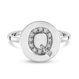 White Diamond Initial-Q Ring in Platinum Overlay Sterling Silver