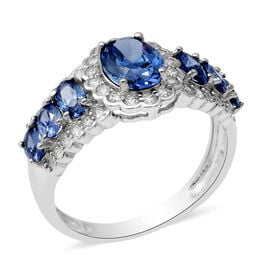 ELANZA Simulated Tanzanite and Simulated Diamond Ring in Rhodium Overlay Sterling Silver