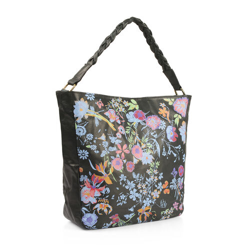 100% Genuine Leather RFID Blocker Black, Blue and Multi Colour Floral Pattern Bag with Braided Shoulder Strap (Size 40X36X32X10 Cm)