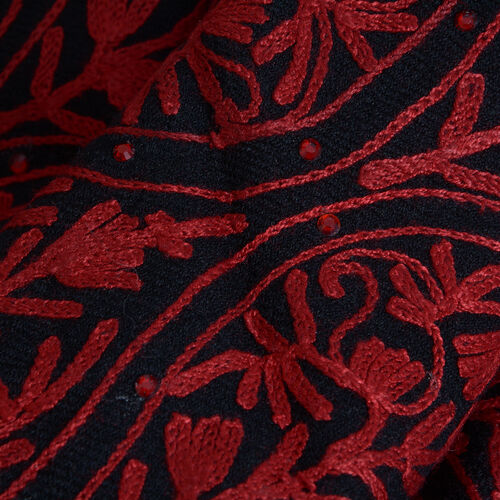 Designer Inspired 100% Merino Wool Red Colour Floral Embroidered Black Colour Scarf with Fringes (Size 200x70 Cm)