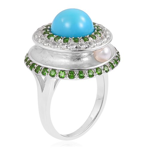 Arizona Sleeping Beauty Turquoise (Rnd), Fresh Water Pearl, White Topaz and Hebei Peridot Ring in Rhodium Plated Sterling Silver 7.910 Ct. Silver wt 6.50 Gms.