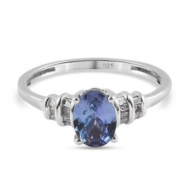 Peacock Tanzanite and Diamond Ring in Platinum Overlay Sterling Silver