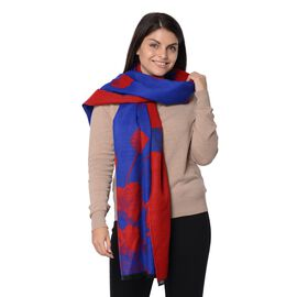 Tulip Pattern Winter Scarf (Size 63.5+188 Cm) - Navy
