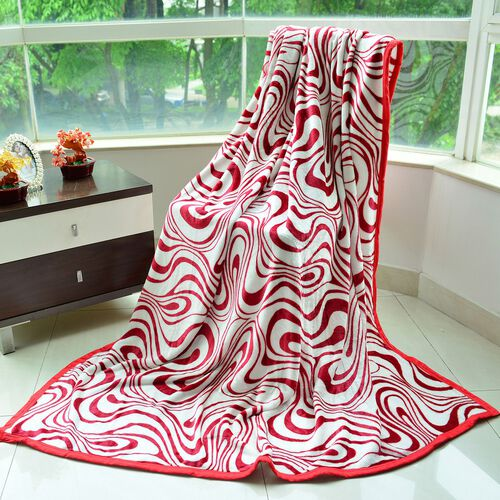 Superfine 300 GSM Microfiber Printed Flannel Red and White Colour Abstract Pattern Blanket (Size 200X150 Cm)
