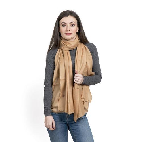 100% Cashmere Wool Camel Colour Shawl (Size 200x70 Cm)