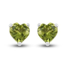 Peridot Heart Stud Earrings (with Push Back) in Platinum Overlay Sterling Silver 1.55 Ct.