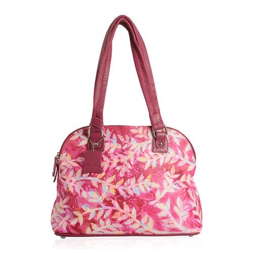 Premium Super Soft 100% Genuine Leather Fuschia Multi Colour Handprinted Weekend Bag (Size 36x26.50x13.15 Cm)
