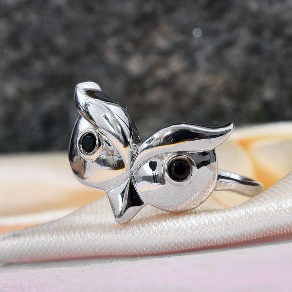 Boi Ploi Black Spinel (Rnd) Owl Ring in Platinum Overlay Sterling Silver