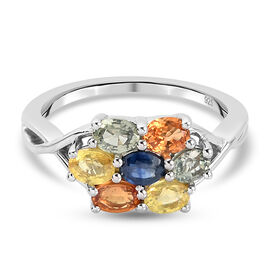 Rainbow Sapphire Cluster Ring in Platinum Overlay Sterling Silver 1.72 Ct.