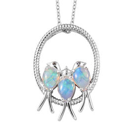 Ethiopian Welo Opal (Pear), Natural Cambodian Zircon Birds and Circle Pendant with Chain (Size 18) in Platinum Overlay Sterling Silver 1.500 Ct, Silver Wt: 6.45 Gms.
