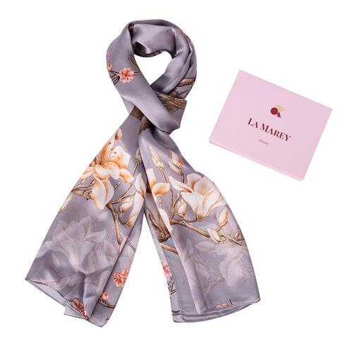 LA MAREY 100% Gloss Mulberry Silk Scarf in Blossom Print (175x52cm)