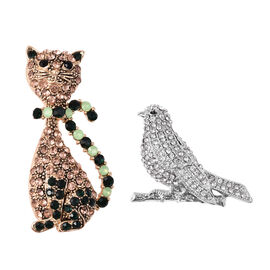 2 Piece Set Simulated Green Jade and Multi Colour Austrian Crystal Cat and Bird Brooch