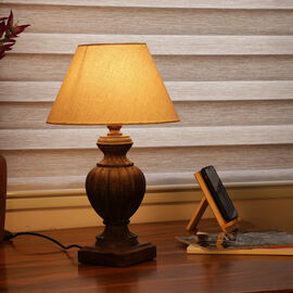 NAKKASHI - Hand Craved Wooden Table Lamp with Certified Cord Set (Size Shade: 15x30x18 Cm, Base: 12.