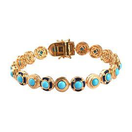 AA Arizona Sleeping Beauty Turquoise Enamelled Bracelet (Size 8) in 14K Gold Overlay Sterling Silver
