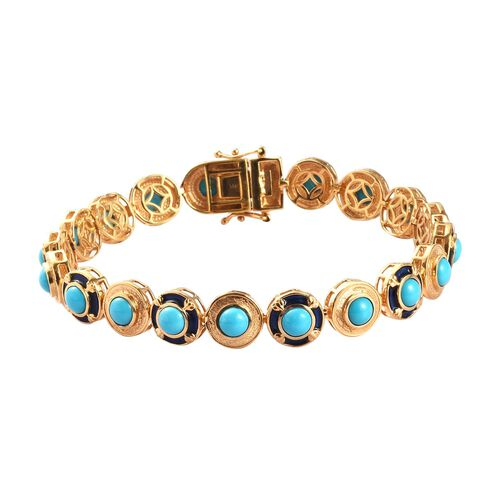 AA Arizona Sleeping Beauty Turquoise Enamelled Bracelet (Size 8) in 14K Gold Overlay Sterling Silver