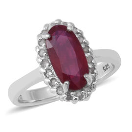 African Ruby and Diamond Ring in Rhodium Overlay Sterling Silver 3.33 Ct.